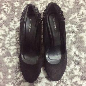 """Call It Spring- Black suede 5"""" heels."""
